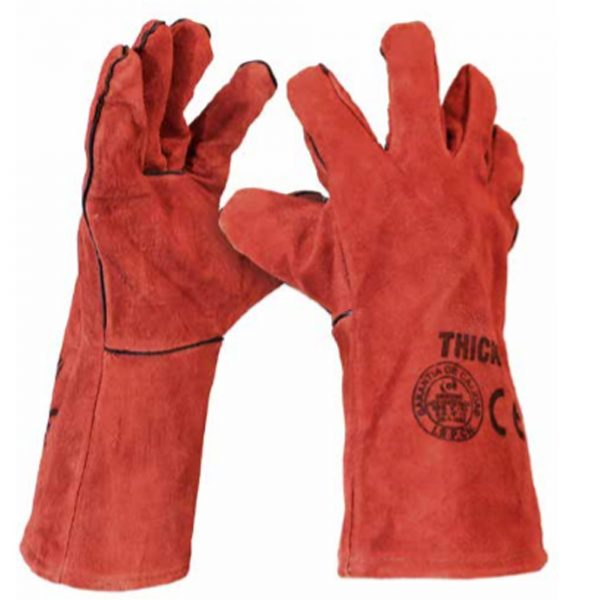 guante soldador rojo Thick